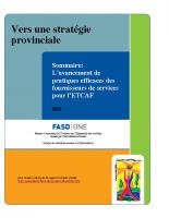 Sommaire Lavancement de pratiques efficaces des fournisseurs de services pour ETCAF
